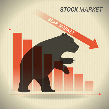 Bear market concept presents stock market with bear in front of red downtrend graph on brown paper. Иллюстрация