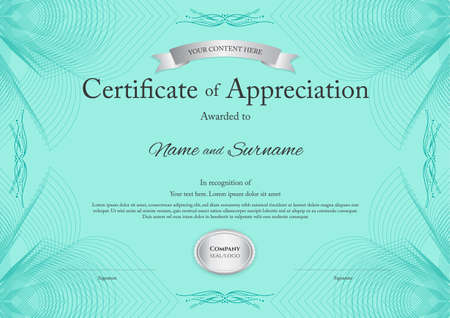 Certificate of appreciation template with award ribbon on abstract guilloche background with vintage border style Illustration