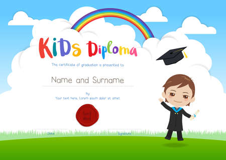 outerwear: Colorful kids diploma certificate template in cartoon style with smiling boy in graduation gown suit and flying hat