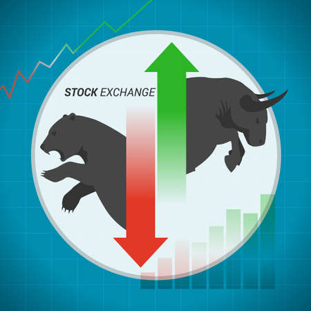 Stock market concept bull vs bear with up and down arrow