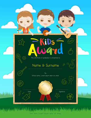 thankful: Portrait colorful kids award diploma certificate template in cartoon style with happy boy and girl