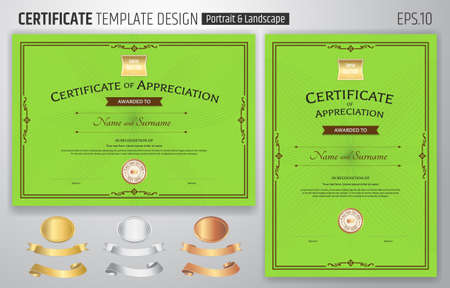 Set of certificate of appreciation template with award ribbon on abstract guilloche background with vintage border style