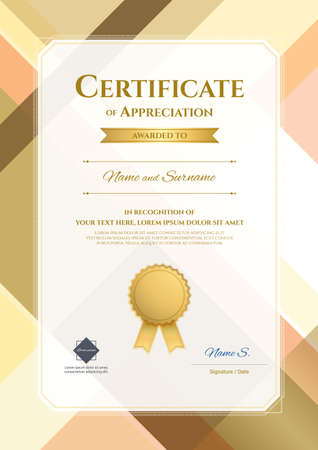 thankful: Portrait modern certificate of appreciation template with modern colorful pattern in vector illustration