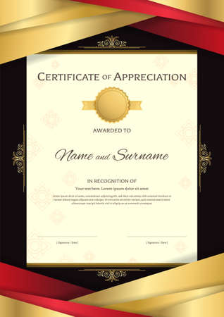 Portrait luxury certificate template with elegant red and golden border frame, on Thai background, Diploma design for graduation or completion