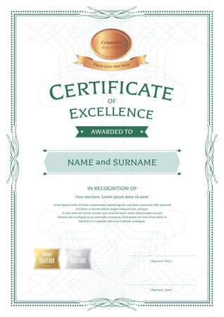 Portrait Certificate Of Appreciation Template With Award Ribbon On Abstract  Guilloche Background With Vintage Border Style