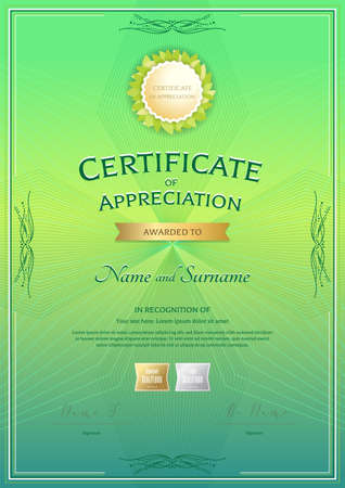 Portrait certificate of appreciation template with award ribbon on abstract guilloche background with vintage border style Illustration