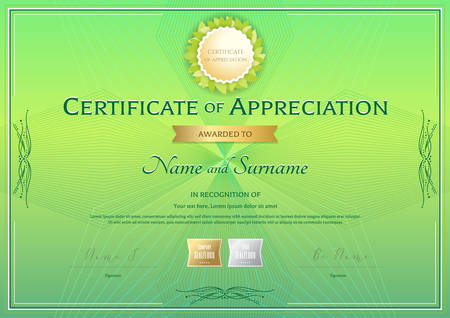 Certificate of appreciation template in green environment theme on abstract guilloche background with vintage border style Illustration