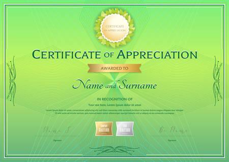 Zertifikat der Wertschätzung Vorlage in grüner Umwelt Thema auf abstrakte Guilloche Hintergrund mit Vintage-Stil Vektorgrafik