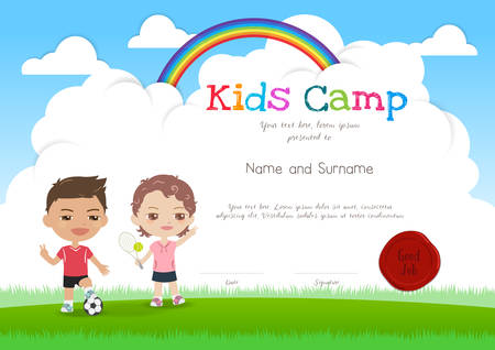 Colorful kids summer camp diploma certificate template in cartoon style with smiling boy and girl Illustration
