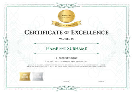 Certificate Of Excellence Template With Award Ribbon On Abstract Guilloche  Background With Vintage Border Style Vector