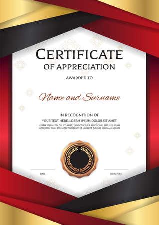 Het certificaatmalplaatje van de portretluxe met elegant gouden rood grenskader, Diplomaontwerp voor graduatie of voltooiing