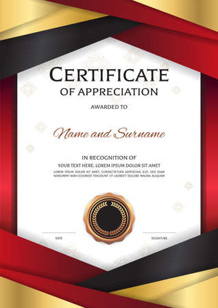 Portrait luxury certificate template with elegant golden red border frame, Diploma design for graduation or completion
