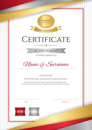 Portrait luxury certificate template with elegant golden border frame, Diploma design for graduation or completion Çizim