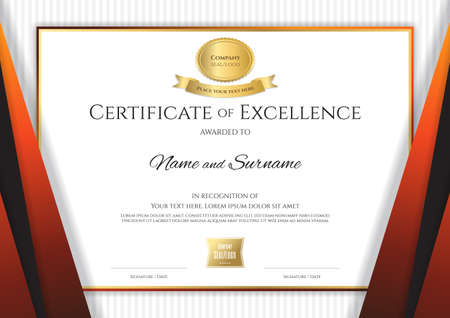 Luxury certificate template with elegant black orange border frame, Diploma design for graduation or completion