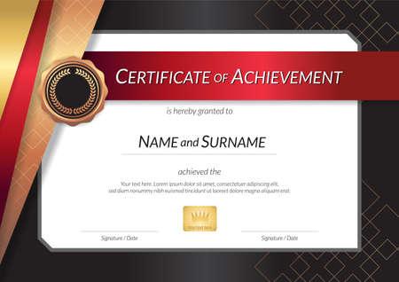 エレガントな枠、卒業または修了のディプロマ デザイン高級証明書テンプレート  イラスト・ベクター素材