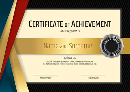 Luxury certificate template with elegant black and golden border frame, Diploma design for graduation or completion Çizim