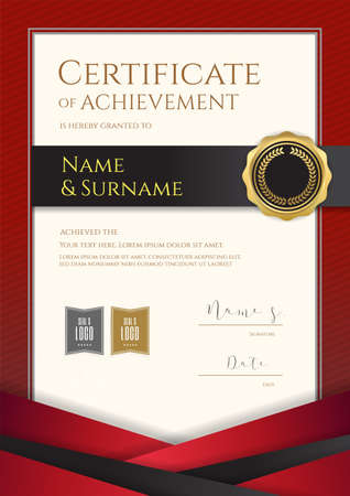 Portrait luxury certificate template with elegant red border frame, Diploma design for graduation or completion