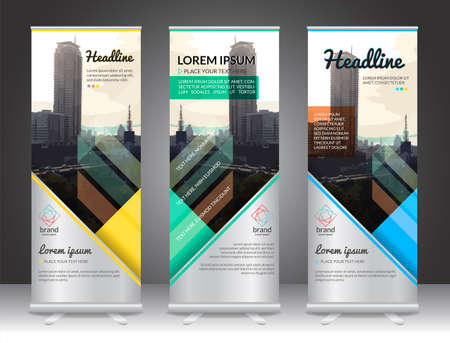 Set of vertical abstract display banner stand or roll up design background layout template with copy space