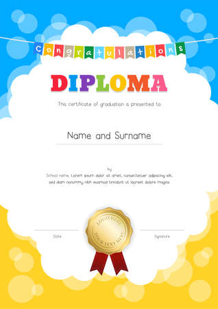Portrait kids diploma or certificate of awesomeness template with colorful background