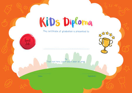 certificate template: Kids Diploma or certificate template with hand drawing cartoon style background