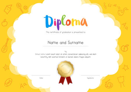 Kids Diploma or certificate template with hand drawing cartoon style background