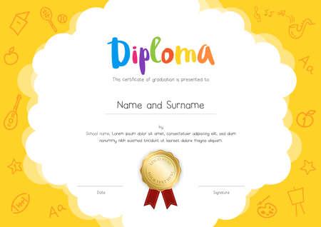 Kinder diploma of certificaat sjabloon met hand tekening cartoon stijl achtergrond