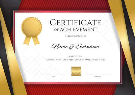 Luxury certificate template with elegant golden border frame, Diploma design for graduation or completion