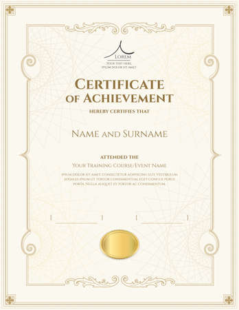 Luxury certificate template with elegant border frame, Diploma design for graduation or completion Vectores
