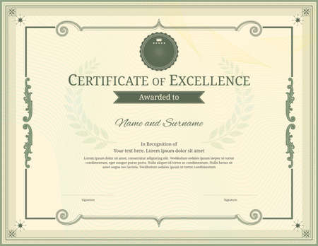 Luxury certificate template with elegant border frame, Diploma design for graduation or completion 矢量图像