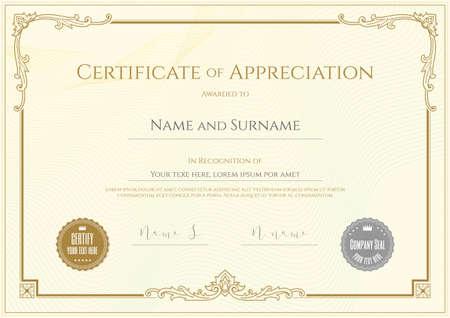 Luxe certificaatsjabloon met elegant grenskader, Diplomaontwerp voor afstuderen of voltooiing Stock Illustratie