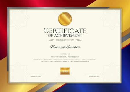 Luxury certificate template with elegant border frame, Diploma design for graduation or completion Vettoriali