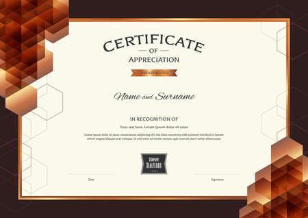 Luxus-Zertifikat-Vorlage mit eleganten Rahmen, Diplom-Design für Abschluss oder Abschluss Vektorgrafik