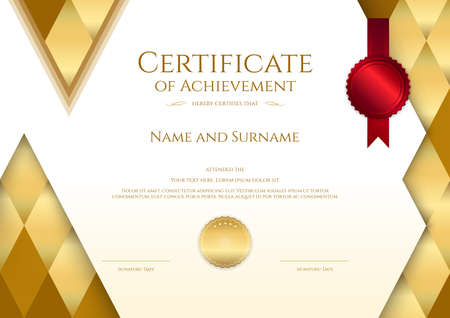 Luxury certificate template with elegant border frame, Diploma design for graduation or completion  イラスト・ベクター素材