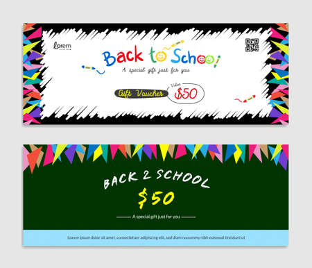 Back to school, Gift certificate, voucher, gift card or cash coupon template in vector format