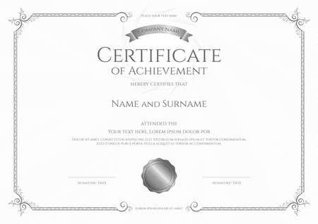 Luxury certificate template with elegant border frame, Diploma design for graduation or completion Illusztráció