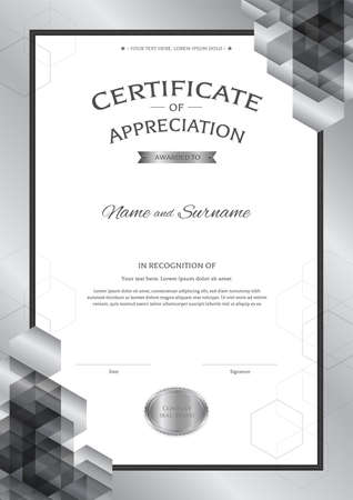 Luxury certificate template with elegant border frame, Diploma design for graduation or completion. 矢量图像