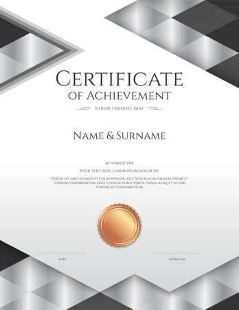 Luxury certificate template with elegant border frame, Diploma design for graduation or completion. Illustration