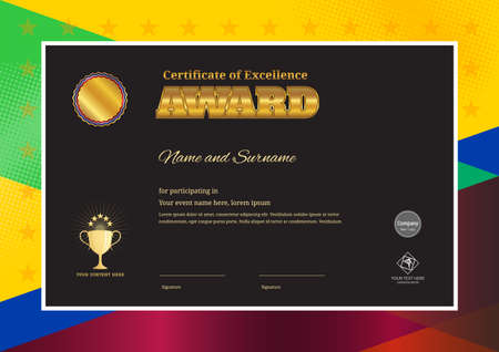 Modern award certificate template with colorful border frame for competition Illustration