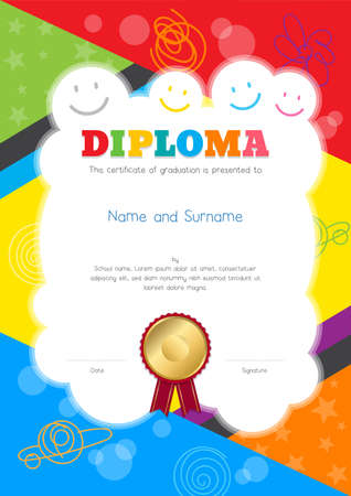 Kids Diploma or certificate template with colorful and hand drawing background border
