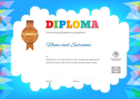 Kids Summer Camp Diploma or certificate template with photo and seal space on orange background and border