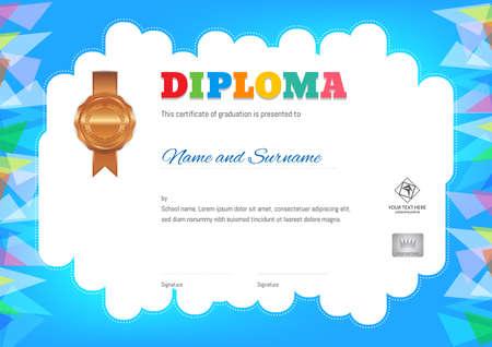 Kids Summer Camp Diploma of certificaatsjabloon met foto en zegelruimte op oranje achtergrond en rand