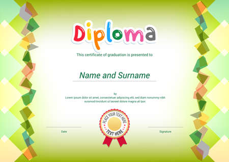 Kids Diploma or certificate template with green themel background and border