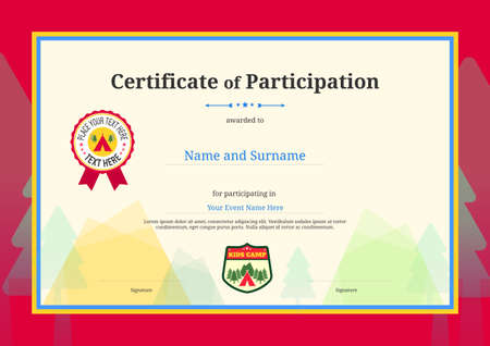 Kids Diploma or certificate of participation template with colorful background