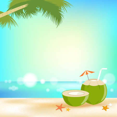 Summer background banner and frame with young coconut juice and sea elements