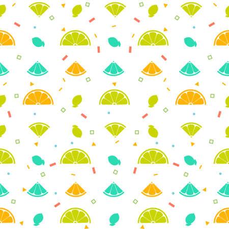 Lemon orange fruits seamless pattern background vector format