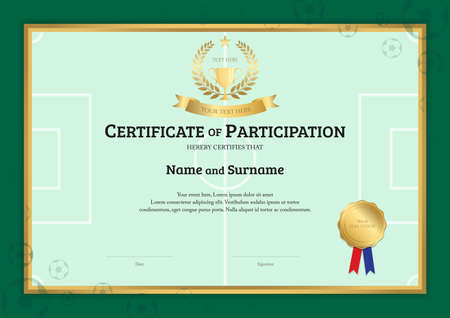 Certificate Template In Football Sport Theme With Green Field