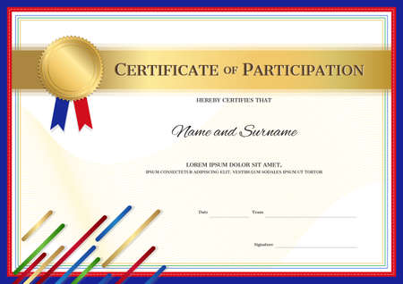 Certificate template in sport theme with sport color stripe border frame, Diploma design