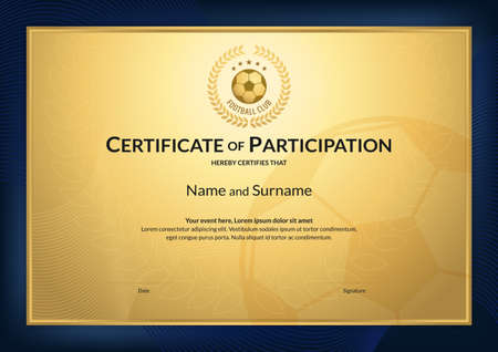 Zertifikatschablone im Fußball-Sportthema mit Goldhintergrund und blauem Randrahmen, Diplomdesign Vektorgrafik
