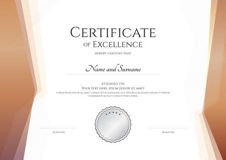 Luxury certificate template with elegant border frame, Diploma design for graduation or completion Illustration