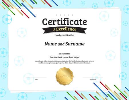 Certificate template in football sport theme with border frame, Diploma design Illusztráció